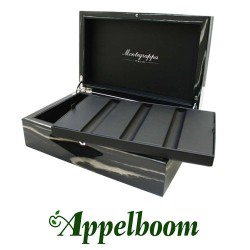 Montegrappa Pen Case Striped Ebony (3 pens)